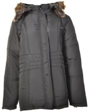 Ladies Plus Size Black Coat with Large Fur Trim Hood